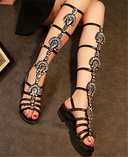 YEEY Sandalias de verano de la rodilla de las señoras alto abierto Toe elegante rhinestones botas sandalias zapatos black (low heel)
