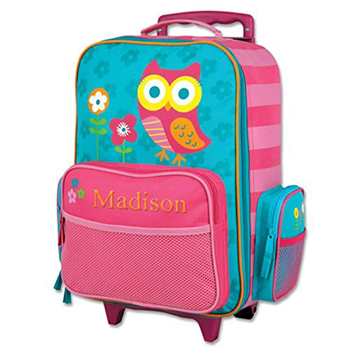 Embroidered Owl Rolling Luggage, 2 Wheels, Multiple Pockets, 14.5