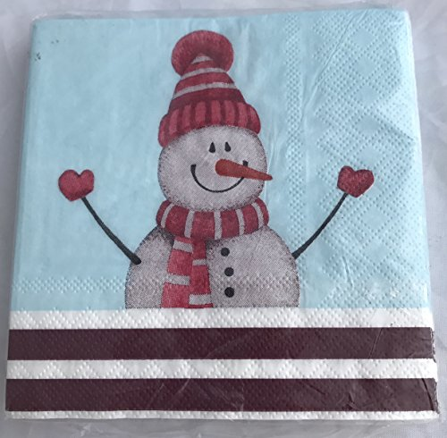 Gibson Snowman (CR Gibson Whimsical Snowman Christmas Beverage Napkins 20 count 9.875