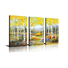 HLJ ART Golden Auturn White Birch Forest Abstract Wall Art Modern Giclee Prints of Canvas Artwork Nature Landscape Beautiful Pictures Photo Paintings