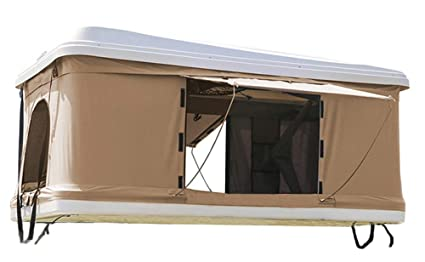 DANCHEL OUTDOOR Hard Shell Rooftop Tent for Cars (White Khaki, 835035inch)