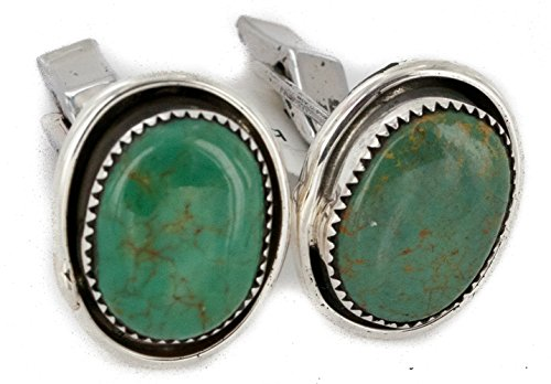 Turquoise Sterling Silver Cufflinks ($270 Retail Tag Handmade Authentic Made by Robert Little Navajo Silver Natural Turquoise Native American Cuff Links)