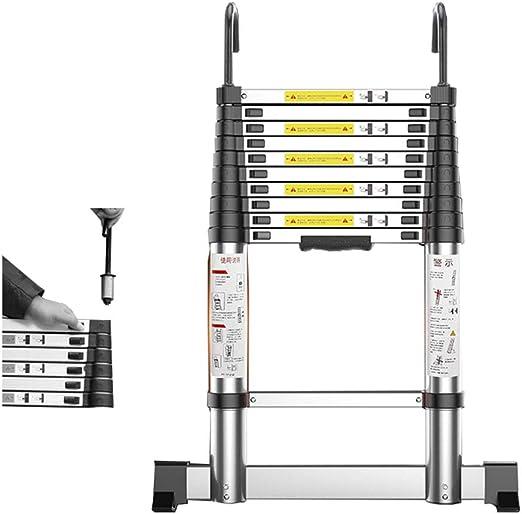 DZWSD Escalera Telescópica con Barra estabilizadora escaleras de Aluminio Expansión Escalera Recta con Gancho de Escalera para el hogar Diario o para Pasatiempos, Capacidad de 150 kg: Amazon.es: Hogar