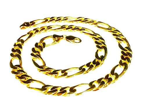 b8f2edfd51599 14Kt Solid Gold Handmade Figaro Curb Link Mens Chain/Necklace 26