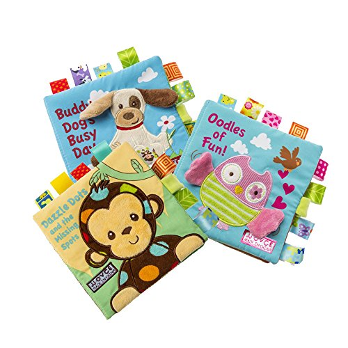 Cloth Book Set of 3 for Babies & Toddlers Early Education Development Fabric Crinkle Book Educational Toy Durable Activity Book Shower Gift for Boy & Girl