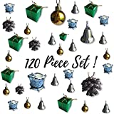 Banberry Designs Mini Christmas Ornaments - Set of 120 Small Tree Decorations - Silver, Gold and Green Miniature Balls, Pine Cones, Bells, Packages and Drums - Approx. 1 1/2''