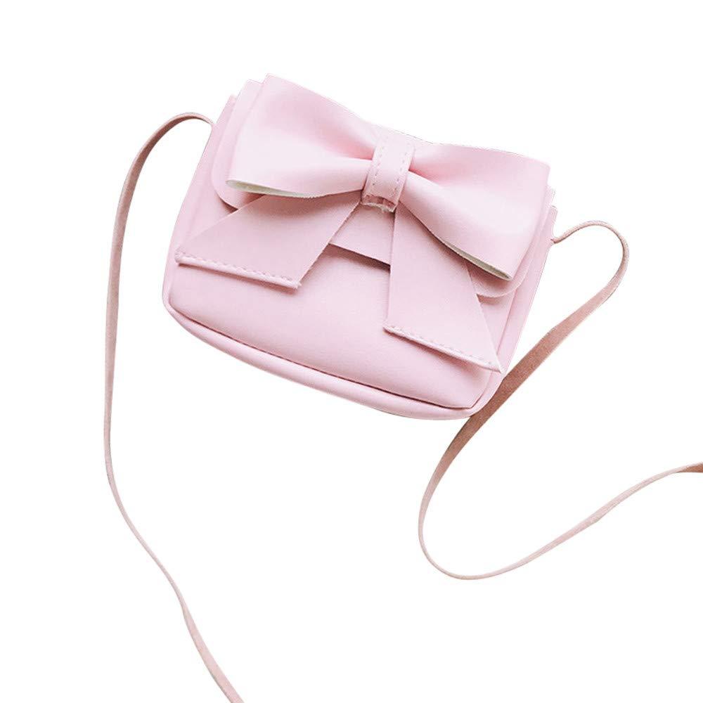 Crossbody Bags, Dream Room Children Girls Cute Bowknotl Leather Handbag Shoulder Bag Mini Messenger Bag (Pink)