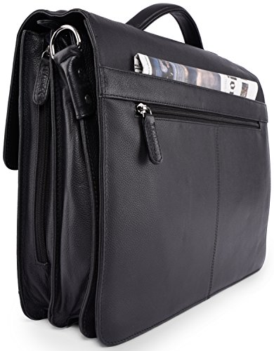 briefcase leather genuine Onyxblack buffalo style Miami LEABAGS vintage Nutmeg in 6wHBRIcWq