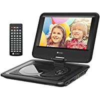 Criacr 11.5 Portable DVD Player, 9.5 Swivel Screen, Built-in 6-Hour Rechargeable Battery, USB Port, SD Card Slot Support, Power AC Adapter and Car Charger Included - (Remote Control)