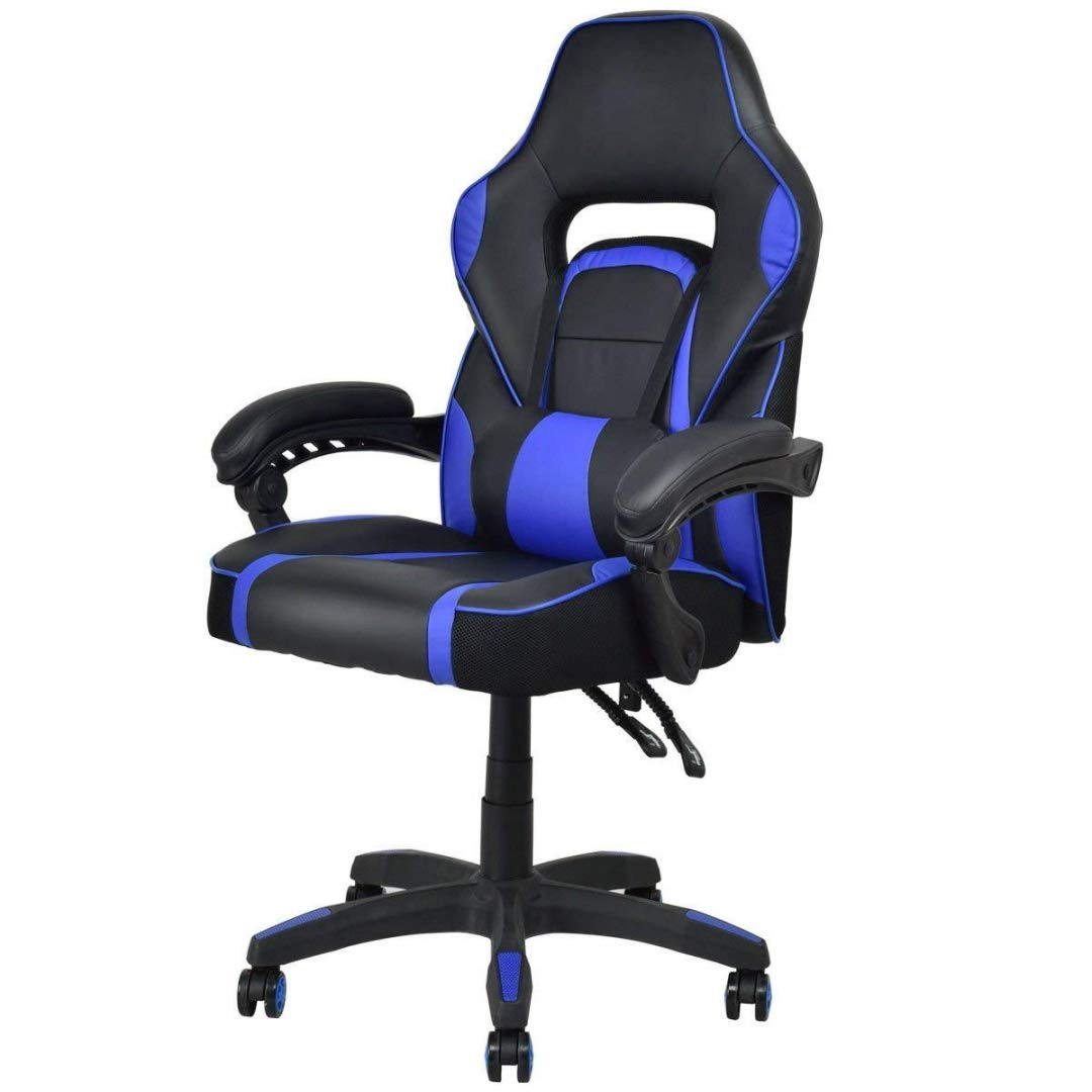 Modern Racing Style Gaming Chairs Thick Padded Seat PU Leather Upholstery Adjustable Recline Design Chair with Waist Pillow Home Office Furniture Decor - (1) Blue #2115 by KLS14