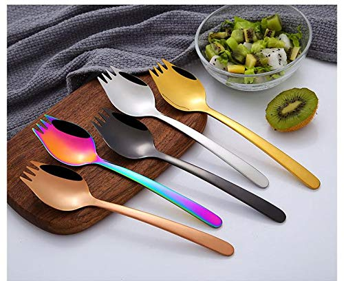 C&L 4-pack Rainbow Spork Salad Forks Noodle Spoon Stainless Steel for Fruit Appetizer Dessert Flatware Set by C&L (Image #2)