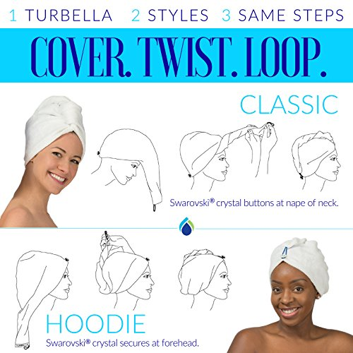 ENWRAPTURE The Only Luxury Hair Towel Wrap Made In USA   Swarovski Button   Nanofiber Beats Microfiber To Dry Wet Hair Fast   Twist Turban In 2 Easy Styles   Large For Long Or Curly   GIFT Travel Case by TURBELLA (Image #5)