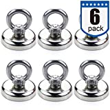 DIYMAG Super Strong Neodymium Fishing Magnets, 75 lbs(35 KG) Pulling Force Rare Earth Magnet Eyebolt Diameter 1.26 inch(32 mm) for Retrieving in River and Magnetic Fishing - 6 Pack