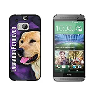 Yellow Labrador Retriever Pink - Dog Pet - Snap On Hard Protective Case for HTC One M8 - Black by ruishername