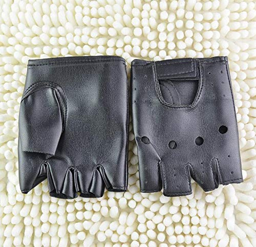 Qiu Ping Mens Rivet Non-Mainstream Street Dance Fingerless Performance Gloves
