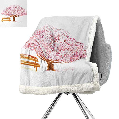 Bench Brookstone - ScottDecor Nature Lightweight Blanket,Watercolor Blooming Cherry Tree in The Park with Wooden Bench Floral Artwork Print,Pink Brown,Flannel Throw Blanket Lightweight Soft Warm Blanket W59xL78.7 Inch