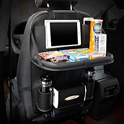 HCMAX Luxury Car Seat Back Organizer Foldable Dining Table Holder Tray Bottles Holder Multifunctional Protector Storage Bag Kick Mat Travel Accessory PU Leather
