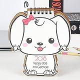 New Desk Stand Up Calendar 2018 Monthly Planner, Puppy Dog Style with Wirebound, Flip Desk Mini Desktop Daily Scheduler (Girl Puppy)