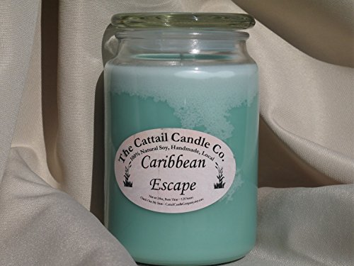 Cattail Candle - Caribbean Escape - 100% Soy Candle, 24 fl oz