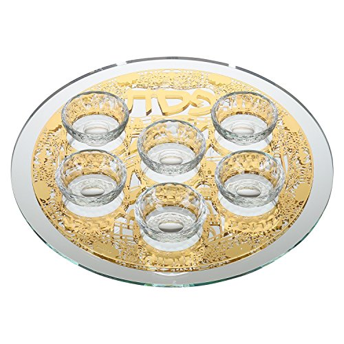 (Passover Seder Plate Glass Designed with Jerusalem Patterned Gold Color Plaque and 6 Elevated Bowls )