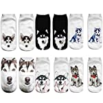 Angelteers Unisex's Funny 3D Husky Dog Ankle Socks Cute Low Cut Socks for Summer 6