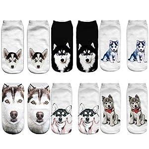 Angelteers Unisex's Funny 3D Husky Dog Ankle Socks Cute Low Cut Socks for Summer 1