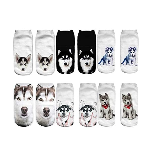 Angelteers Unisex's Funny 3D Husky Dog Ankle Socks Cute Low Cut Socks for Summer 1