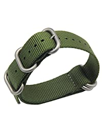 19mm Army Green Luxury Exquisite Men's one-piece NATO style Nylon Perlon Watch Bands Straps Textile