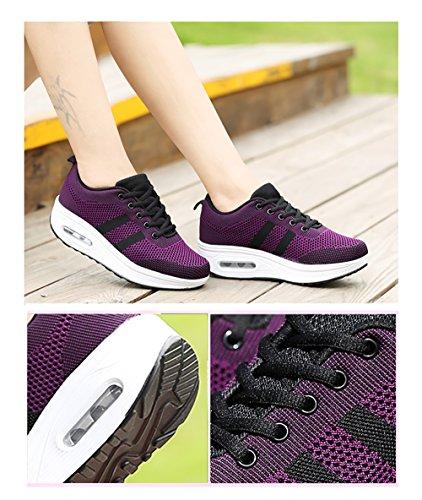 de con para Sneakers a Deporte Air de Calzado Zapatillas Cu Cordones Correr Mujer Plataforma Malla Tac Zapatos gxwq5vnf