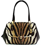 Coach Madison Zebra Madeline E/W Satchel - Brown Multi