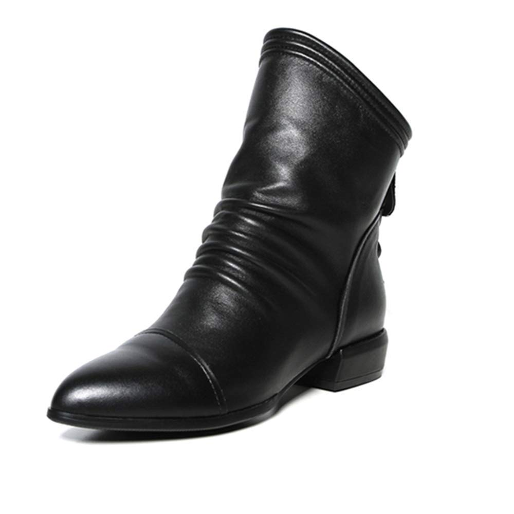 d0f89ab3772e4 Sunmoot Ruffles Faux Leather Ankle Boots Women Solid Zip Boots Low ...