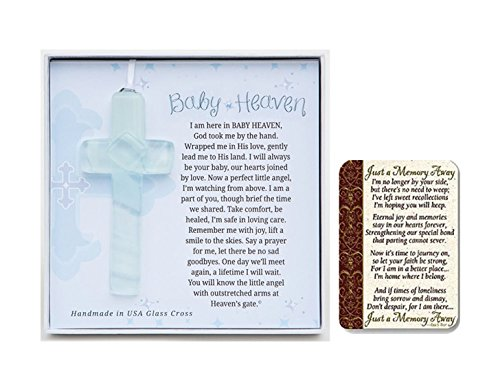 Grandparent Gift Co Baby Heaven Glass Cross, with Just a Memory Away Card | Infant Loss Gift Set