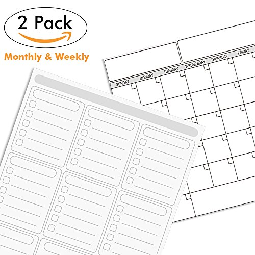 Monthly & Weekly Planner Set, 2 Pack Magnetic Dry Erase Calendar Whiteboard with Quality PET Film, Easy to Erase & Strong Magnet, Perfect Magnetic Whiteboard Calendarfor Kitchen Refrigerator or Office by HOUSE AGAIN