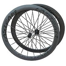 FASTEAM 50mm Road Bike Clincher Wheelset Carbon Shimano 10/11 Speeds Cassette Compatibility 20/24 Holes Black