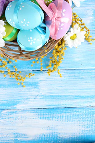 Price comparison product image TMOTN 5x7ft Easter Backdrops Easter Eggs Blue Broad Wood Wall Backdrop Photo Booth Props Easter Party Decoration Backdrop D1281
