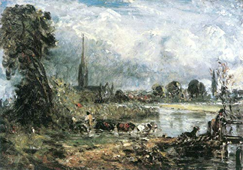 Home Comforts Peel-n-Stick Poster of Constable, John - Viewed Composition Study on Salisbury Cathedral from The Water Meadows of Vivid Imagery Poster 24 x 16 Adhesive Sticker Poster Print (John Constable Salisbury Cathedral From The Meadows)