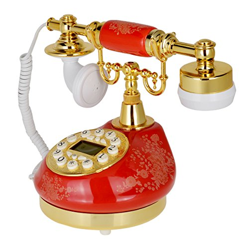 Kmise 511 Red Retro Vintage Style Push Button Ceramic Antique Telephone Dial Desk Phone Home Decor - Telefono Ltd