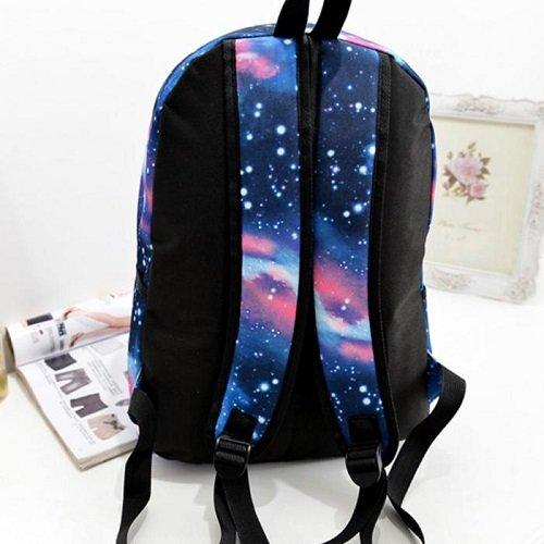 Leinwand-Rucksäcke Schulrucksack Reise Rucksack Casual Daypack Backpack Schüler Outdoor Freizeit Mode Unisex-Sterne Universum Raum (Stern-Blau)