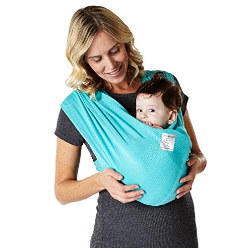 Baby K'tan BREEZE Cotton Mesh Wrap-style Baby Carrier, Teal, Small