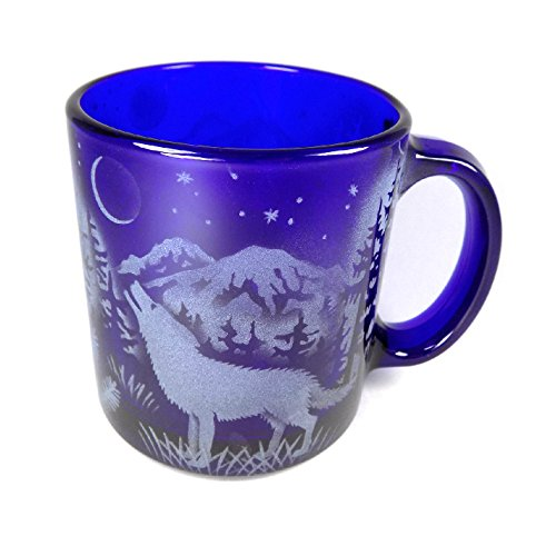 - IncisoArt Hand Etched Coffee Mug Sandblasted (Sand Carved) Glass Handmade Engraved (Wolf Moon Forest Mountains, 13 Ounce Cobalt Blue)