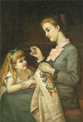 Oil Painting 'a Woman Embroidering With Her Child' Printing On Perfect Effect Canvas , 8x12 Inch / 20x30 Cm ,the Best Wall Art Gallery Art And Home Decoration And Gifts Is This Beautiful Art Decorative Prints On Canvas - 80's Personal Trainer Costume
