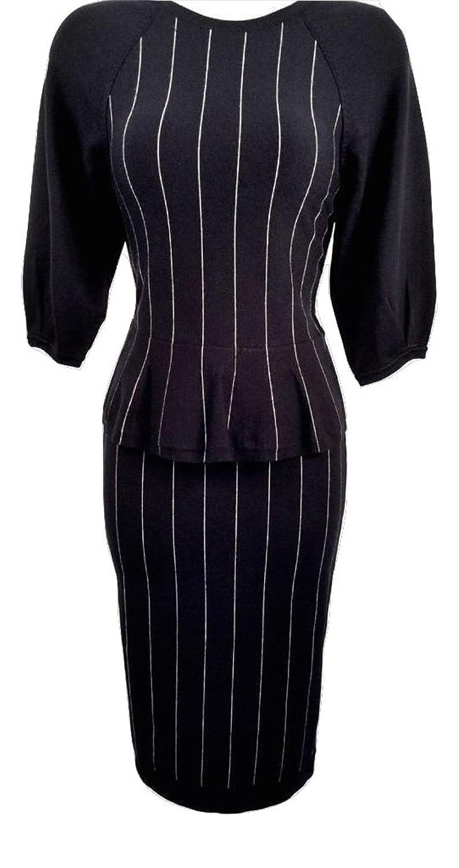 Karen Millen Navy and White Chalk Striped Knit Dress