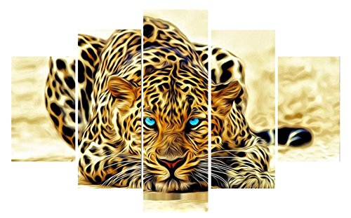 Cuadros Decoracion Tiger Leopard Animal Painting Modular Picture On Canvas Wall Art Home Decor Print 5 Piece Poster