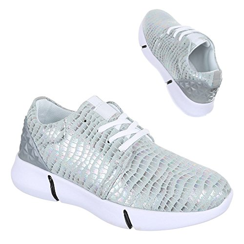 Ital-Design Low-Top Sneaker Damenschuhe Low-Top Sneakers Schnürsenkel Freizeitschuhe Silber L103