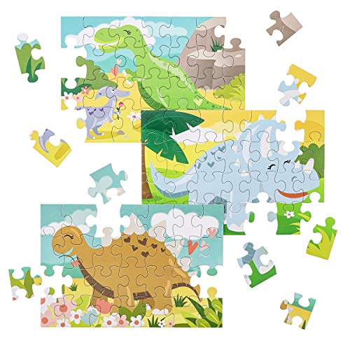 Juvale 36-Pack Bulk Kids Dinosaur Jigsaw Puzzles - 28-Pieces Each, 3 Designs, 5.5 x 8 Inches