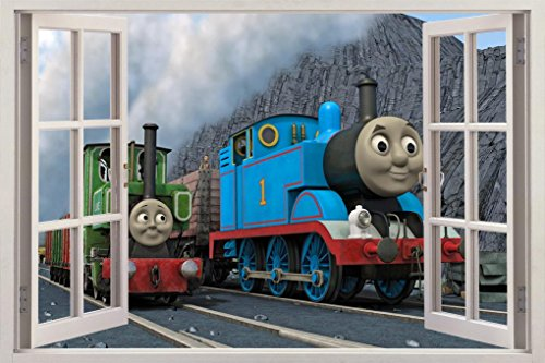 - THOMAS THE TANK & FRIENDS 3D Window View Decal WALL STICKER Decor Art Mural H316, Large