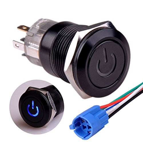 Price comparison product image Taien Latching PushButton Switch 1NO1NC Black Waterproof Metal Shell 19mm 3 / 4 with 12V Blue LED Light
