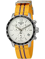 Tissot Mens Quickster Swiss Quartz Stainless Steel and Nylon Watch, Color:Yellow (Model: T0954171703705)