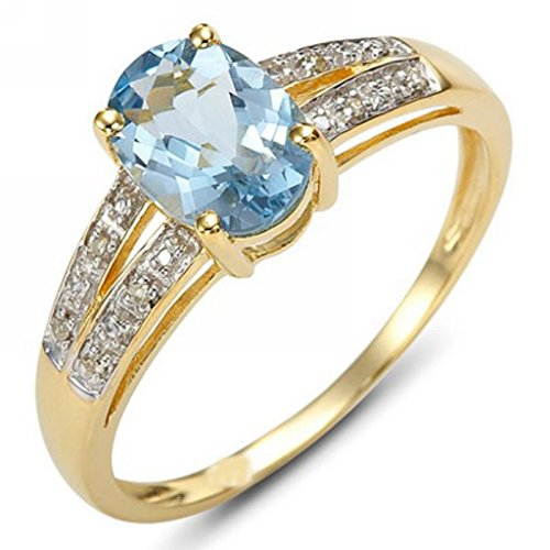Huanhuan Womens Oval Blue Aquamarine CZ Solitaire Ring Yellow Gold Filled Wedding Jewelry Size 6 to 10