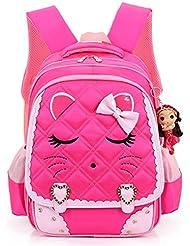 Mai Poetry Cat Face Waterproof Kids Backpack School Bookbag for Primary Girls Students